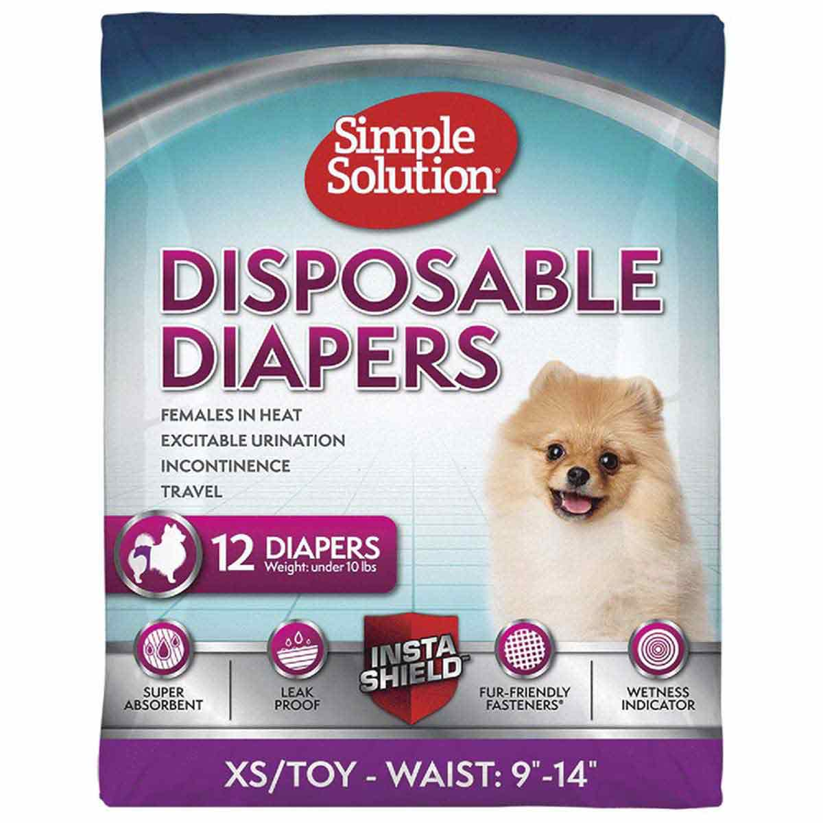 XS Simple Solution Disposable Diapers 12 Pack Under 10 lbs