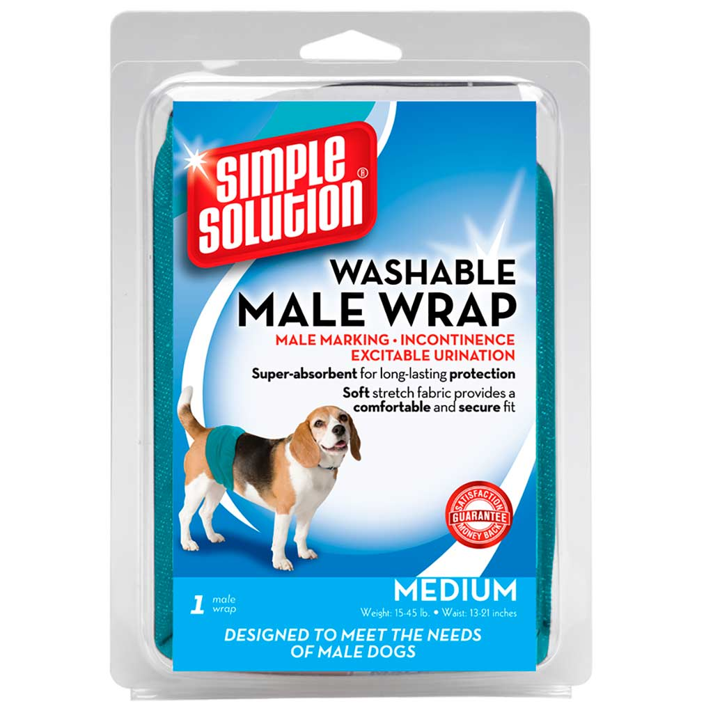 Simple Solution Male Diaper Wrap Medium Size for Dogs 15-45 lbs 13-21 Inches