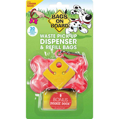 Bags on Board Bone Dispenser with Refill Poop Bags & Dookie Dock - Pink 30 Bags