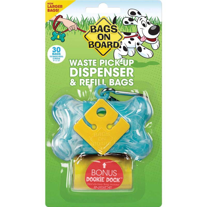 Bags on Board Bone Dispenser with Refill Poop Bags & Dookie Dock - Turquoise 30 Bags