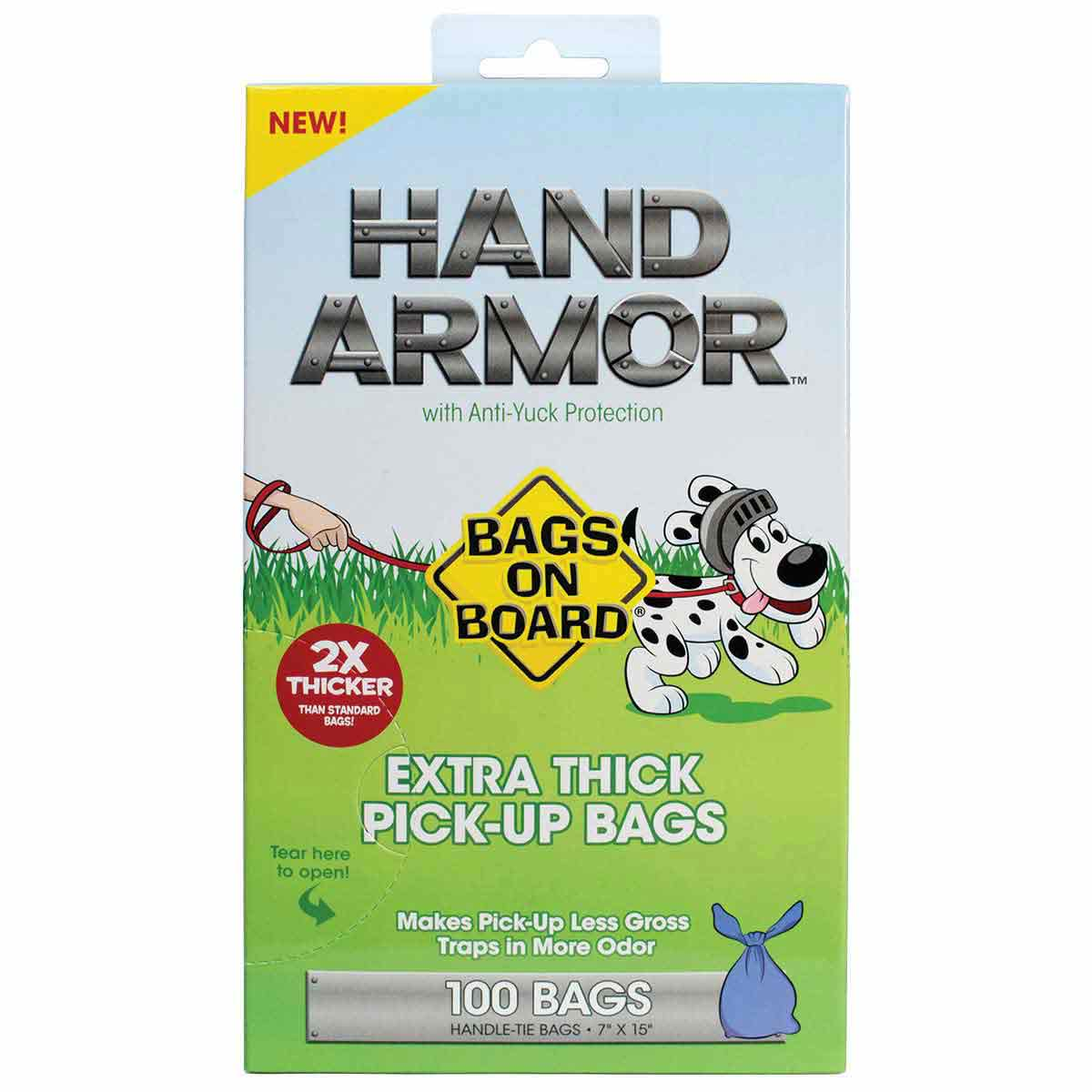Bags on Board Hand Armor Extra Thick Handle Tie Poop Bag - 100 Bags
