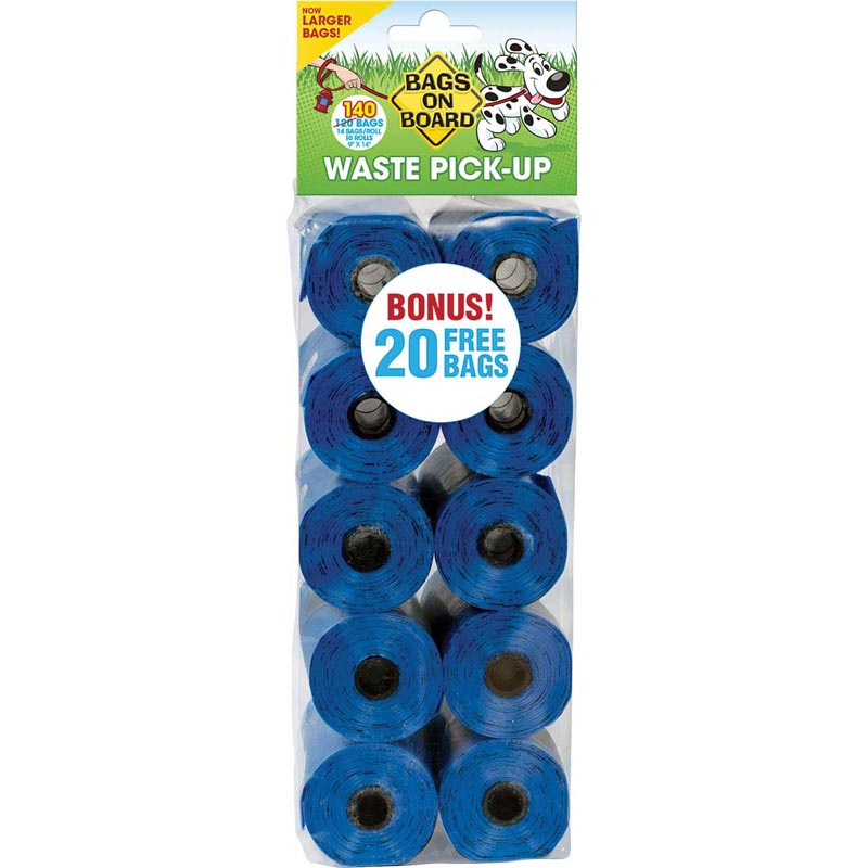 "Bags on Board Blue Refill Dog Poop Bag Pack (140 Bags) 9"" X 14"""