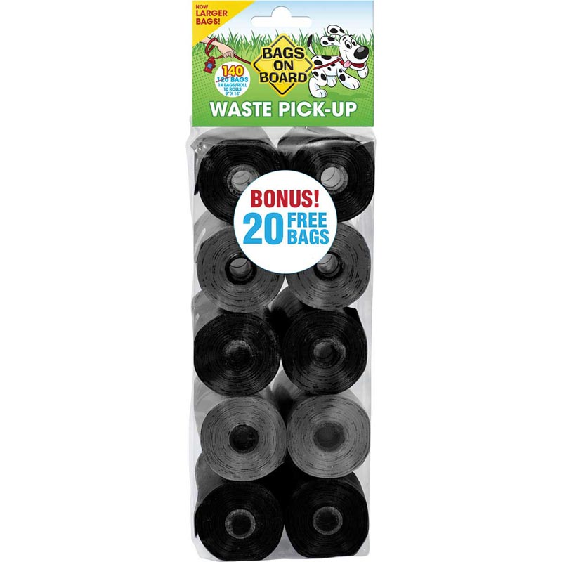 """Bags on Board Black Neutral Bag Refill Pack (140 Bags) 9"""" X 14"""" for dog Waste Removal"""