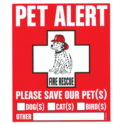 Pet Alert Window Stickers 2 Pack in case of fire at Ryan's Pet Supplies