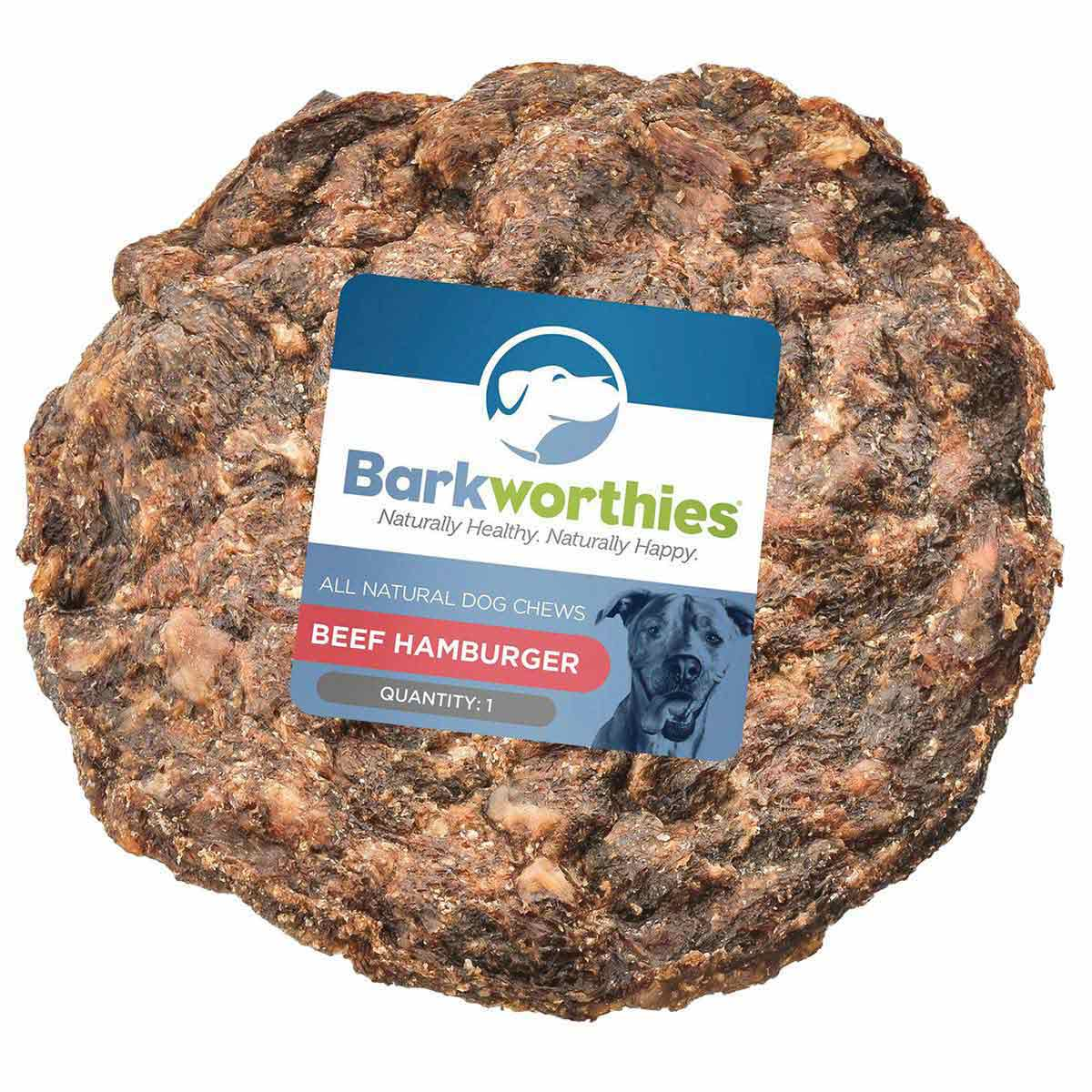 Natural Barkworthies Beef Hamburger Dog chew