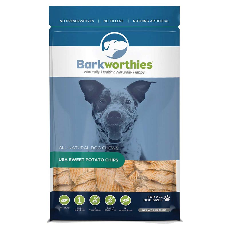Bag of Barkworthies Sweet Potato Chips 16oz Treats for Dogs