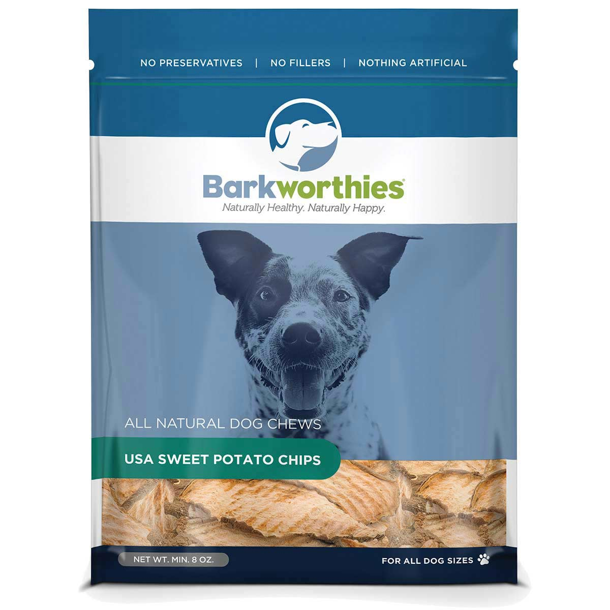 Bag of Barkworthies Sweet Potato Chips 8oz for All Dog Sizes
