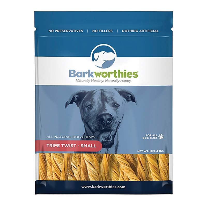 4 oz Bag of Barkworthies Tripe Twist Natural Chew for Dog Sizes