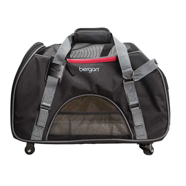 """Bergan Wheeled Comfort Carrier for Traveling with Small Animals 13""""L X 19.75""""W X 10.75""""D"""