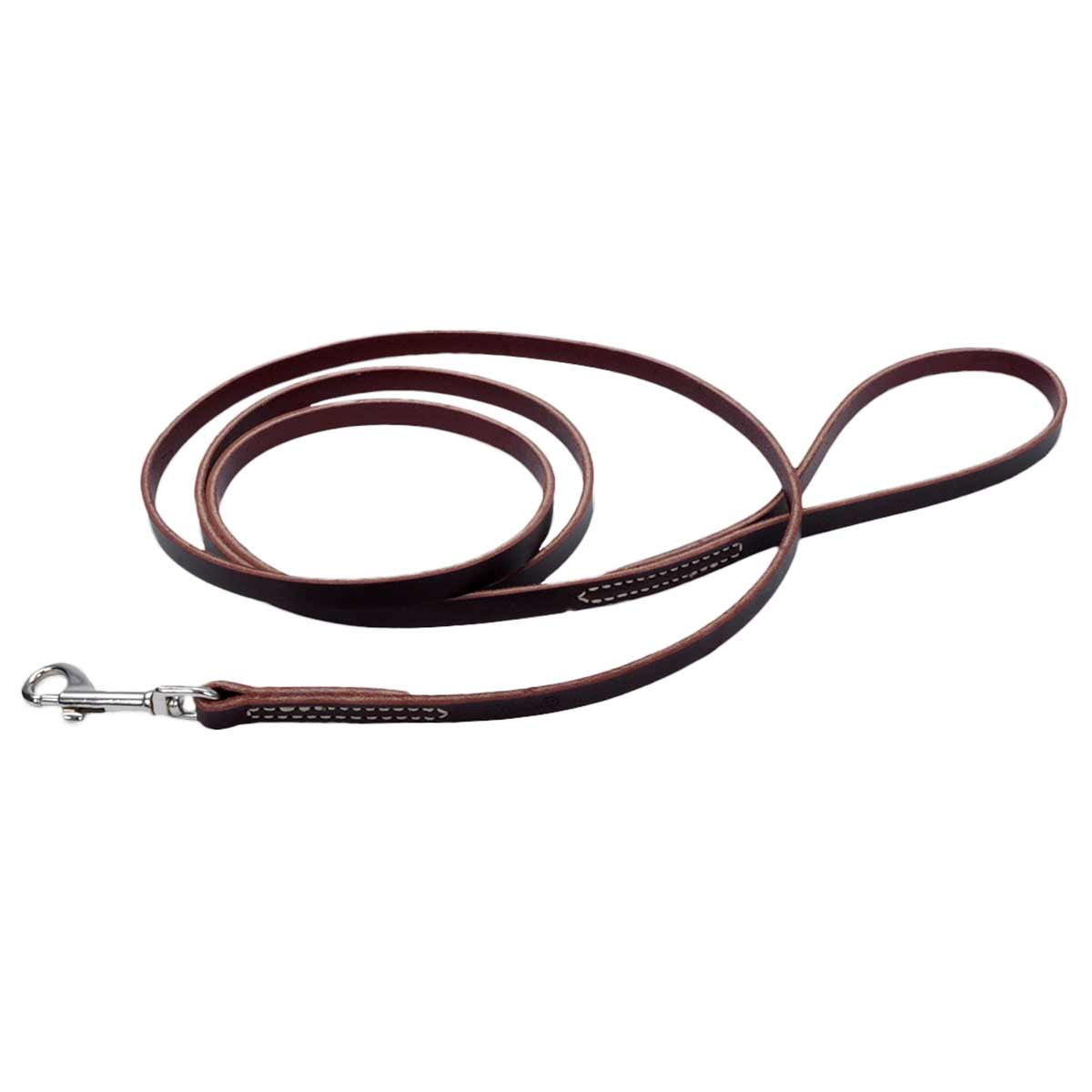 Brown Flat Latigo Leather Training Lead for Dogs - 3/8 inch by 6 feet