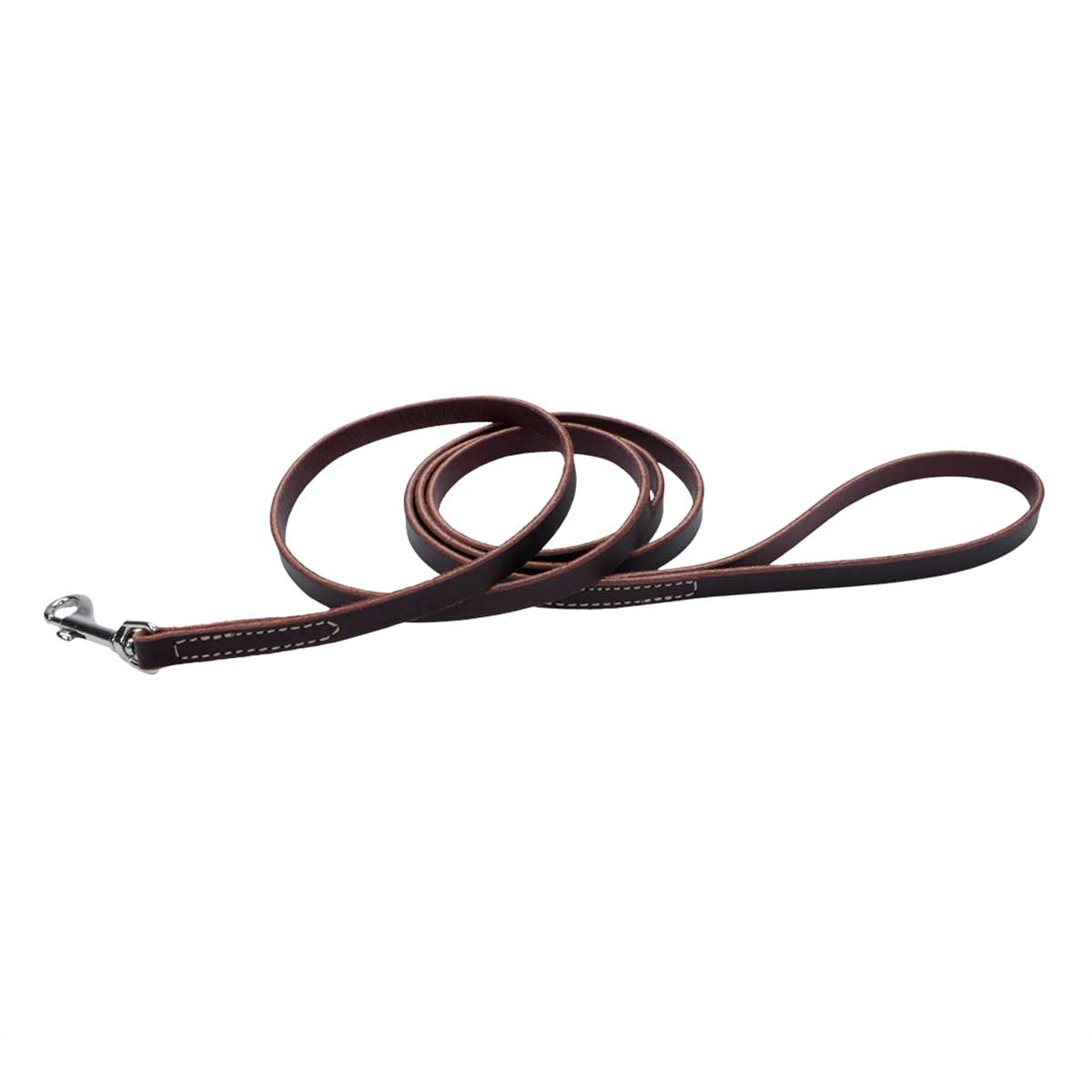 Brown Flat Latigo Leather Training Lead - 1/2 inch by 6 feet