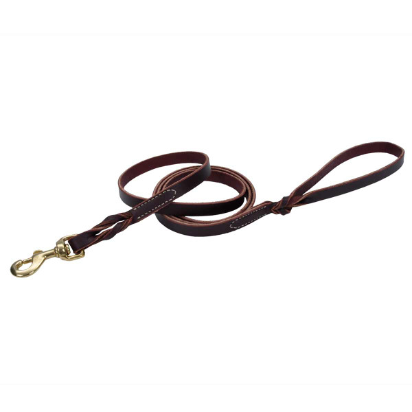 5/8 inch by 6 foot Coastal Latigo Leather Twist Lead with Brass Hardware
