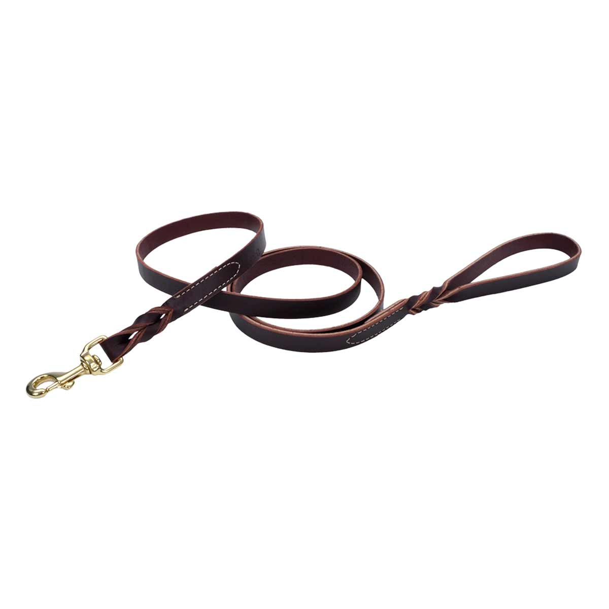 Brown Latigo Leather Twist Dog Lead with Brass Hardware 3/4 inch X 6 feet