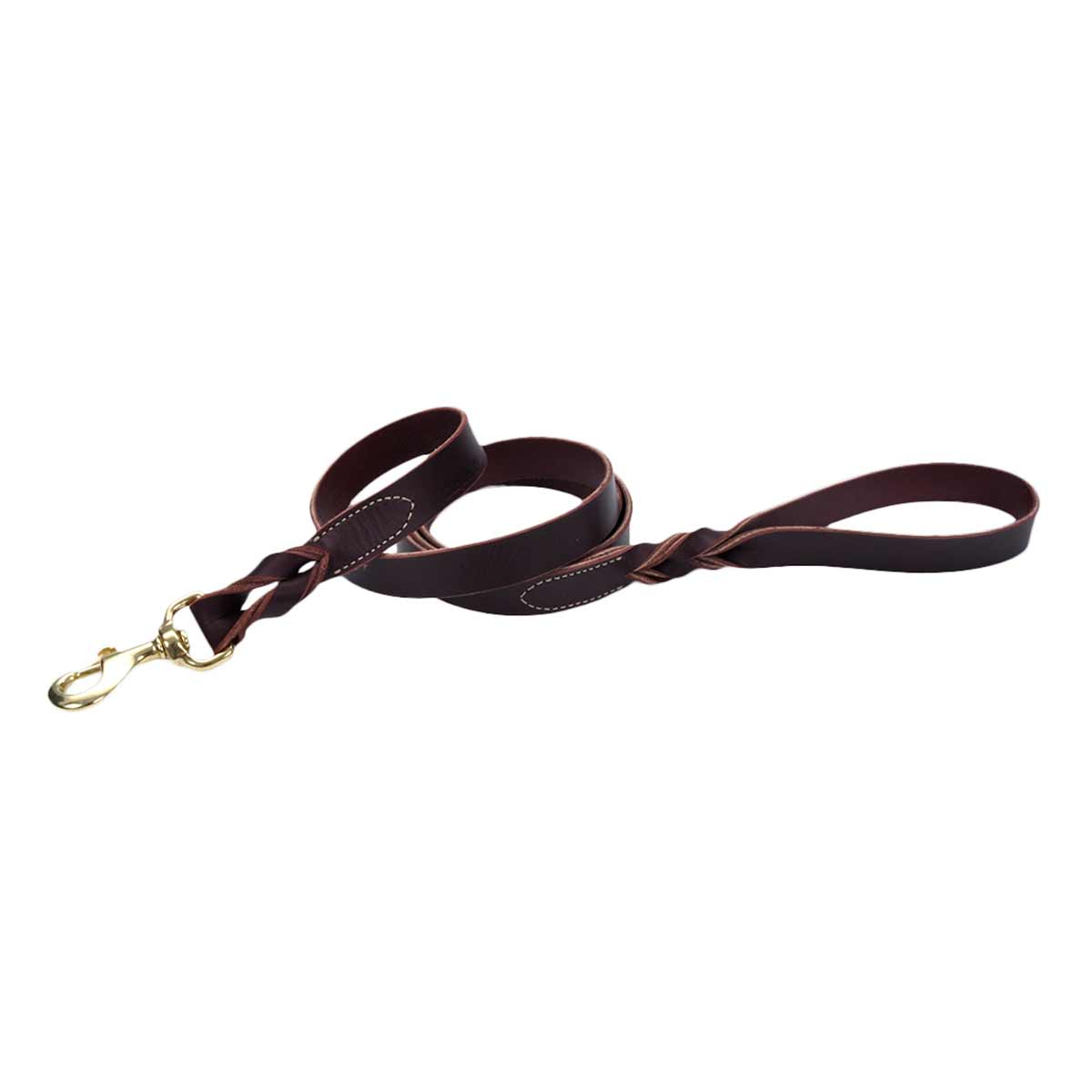 1 inch by 6 feet - Latigo Leather Twist Lead with Brass Hardware - Brown