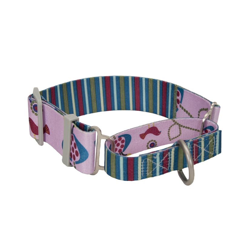 Coastal Sublime Martingale Collar with Bird/Stripe Pattern - 1.5 inch by 14-18 inch