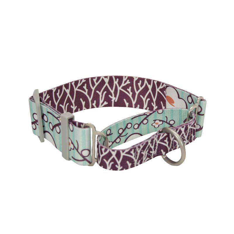 1.5 inch by 14-18 inch Coastal Sublime Adjustable Martingale Collar with Flower/Branch Pattern