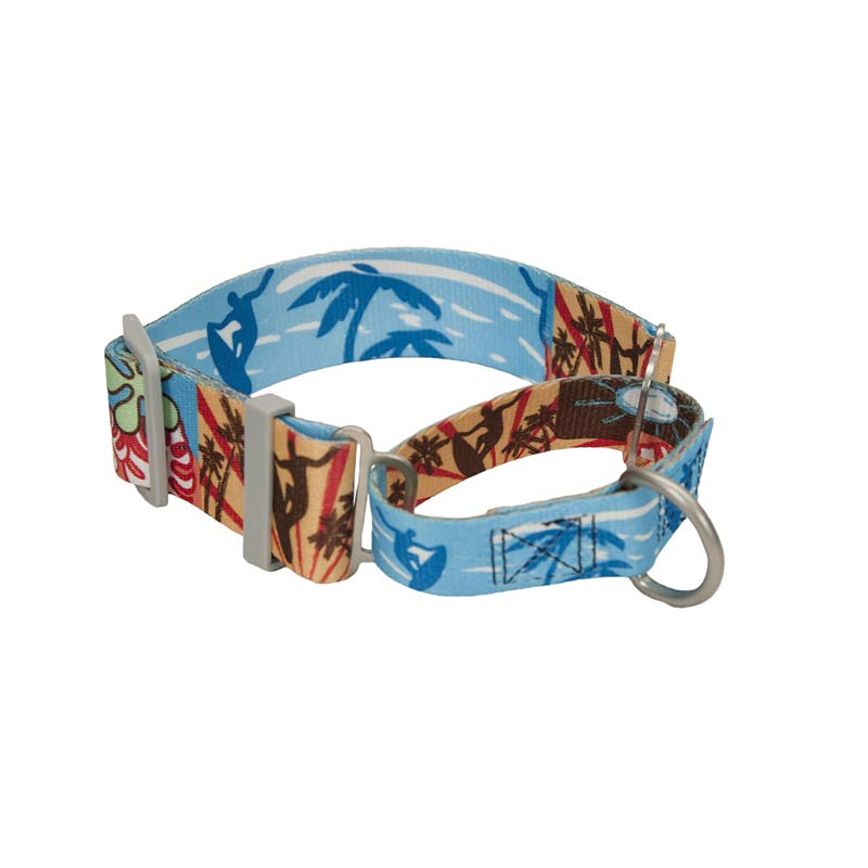 Coastal Sublime 1.5 inch wide Adjustable Martingale Collar 14-18 inch with Surf Sun Beach Pattern