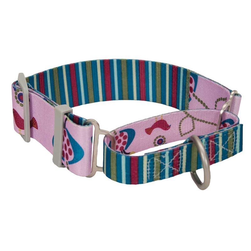 "Coastal Sublime 1.5"" Martingale Collar with Bird/Stripe Pattern - Adjustable 18-26"""