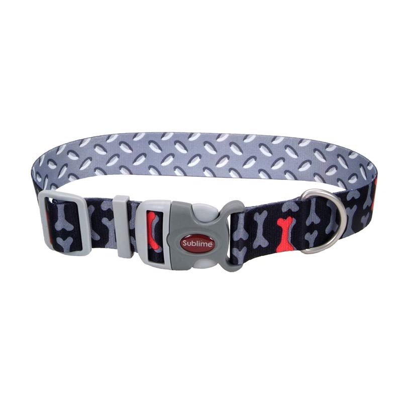 Coastal Sublime Adjustable Dog Collar Bone/Metal Pattern - 1.5 inch by 18-26 inches