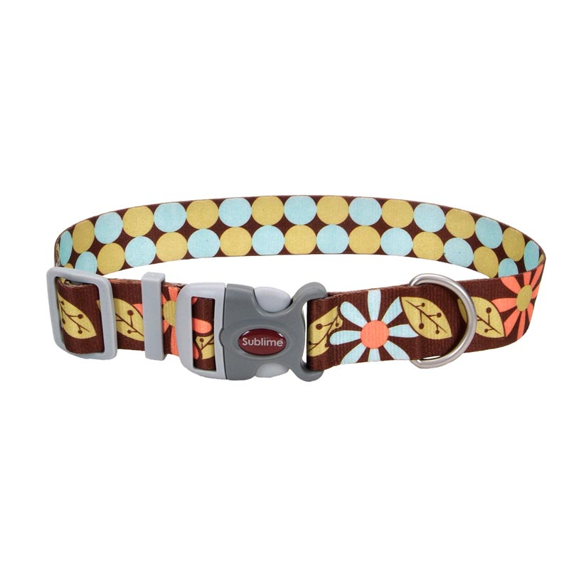 Coastal Sublime Adjustable Dog Collar with Flower/Dots Pattern - 1.5 inch by 18-26 inches