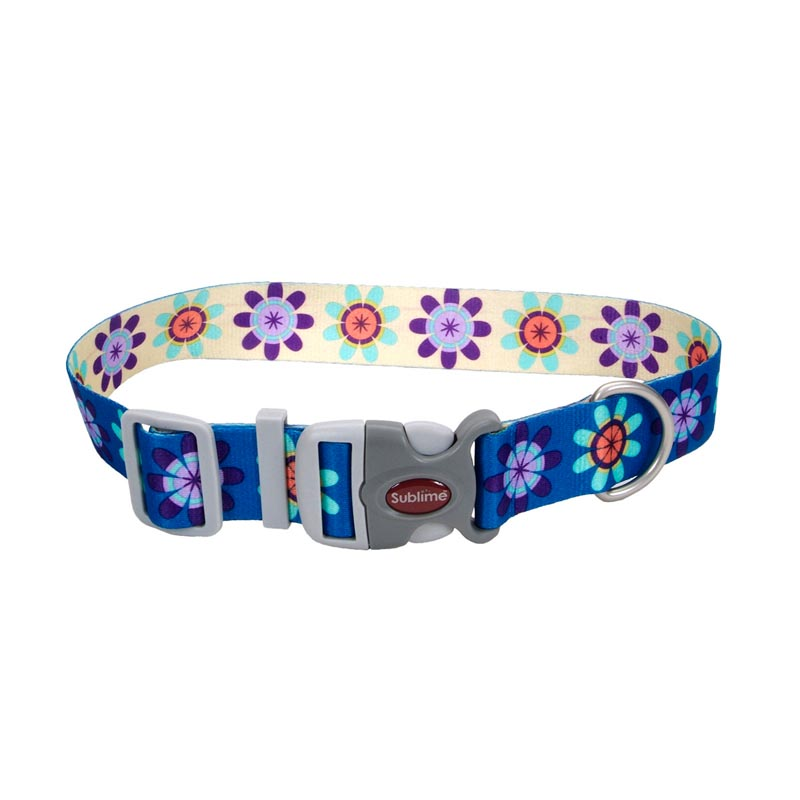 Coastal Sublime Adjustable Dog Collar Flower Pattern - 1.5 inch by 18-26 inches