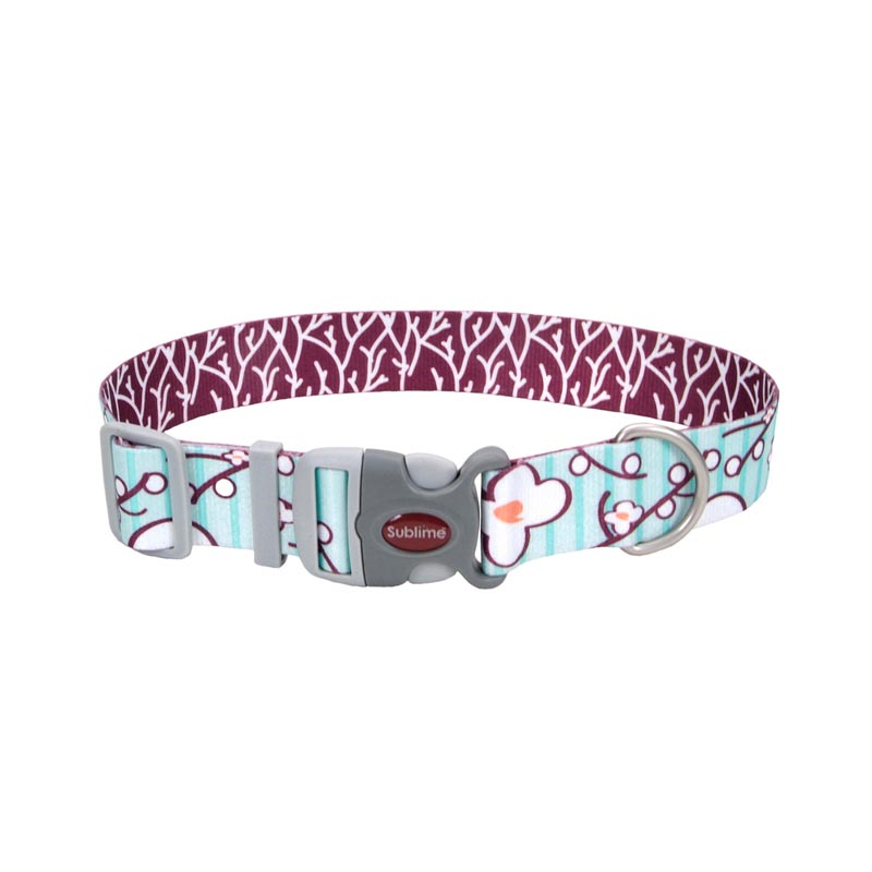 Coastal Sublime Adjustable Dog Collar with Flower/Branch Pattern 1.5 inch by 18-26 inches