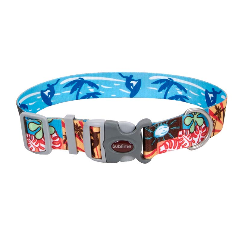 Surf Sun Beach Pattern Coastal Sublime Adjustable Dog Collar - 1.5 inch by 18-26 inches