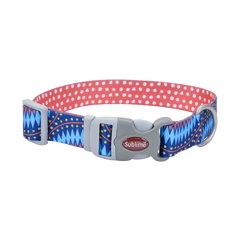 18 inch Blue Diamond Dot Coastal Sublime Adjustable Dog Collar