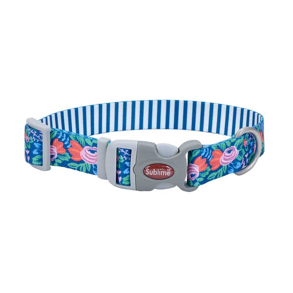 18 inch Flower Teal Stripe Coastal Sublime Adjustable Dog Collar