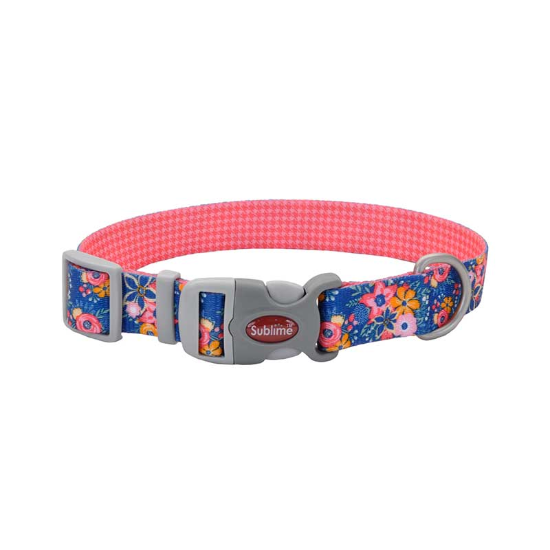 18 inch Pink Orange Flower Coastal Sublime Adjustable Dog Collar