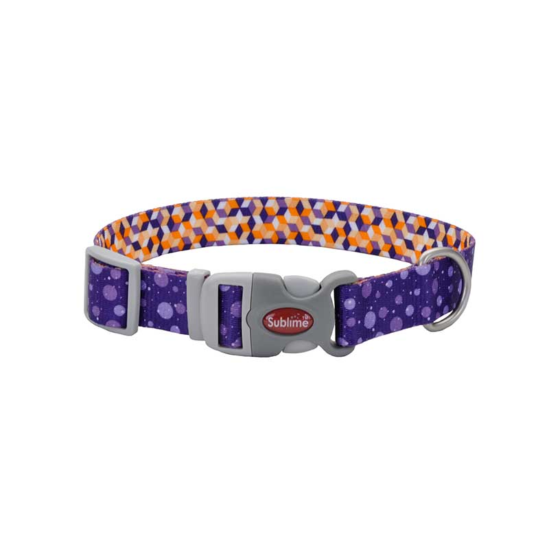 18 inch Purple Orange Rain Coastal Sublime Adjustable Dog Collar