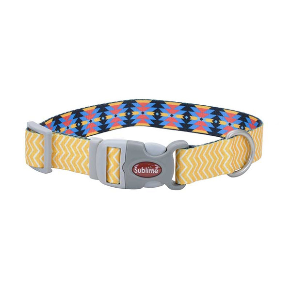 18 inch Yellow Chevron Aztec Adjustable Coastal Sublime Dog Collar