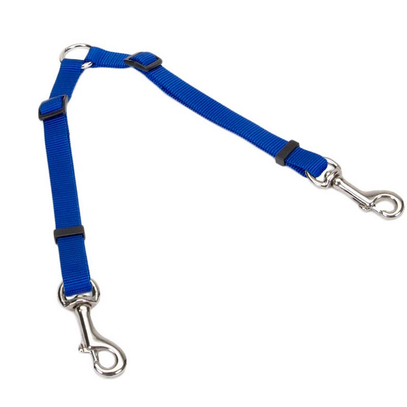 "Royal Blue 3/8"" X 24"" Adjustable Coupler for two Dogs"