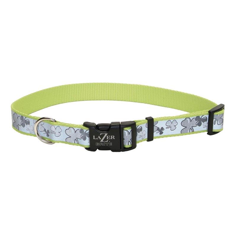 Green with Shamrocks Pattern - Coastal Lazer Brite Adjustable Reflective Collar - 5/8in