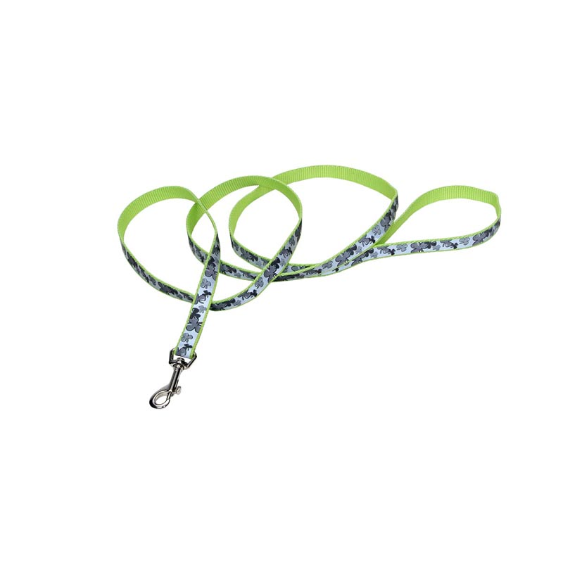 "4 foot Coastal Lazer Brite Reflective 5/8"" wide Green Lead for Dogs with Shamrocks Pattern"
