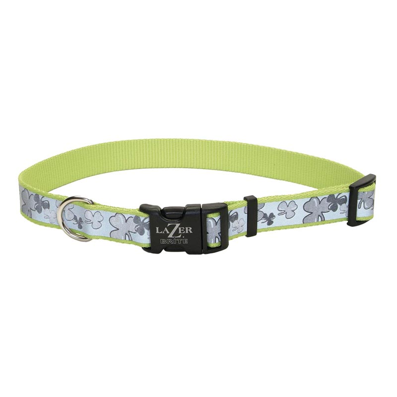 Green Coastal Lazer Brite Reflective Adjustable Dog Collar with Shamrock Pattern - 1 in by 18-28 inches