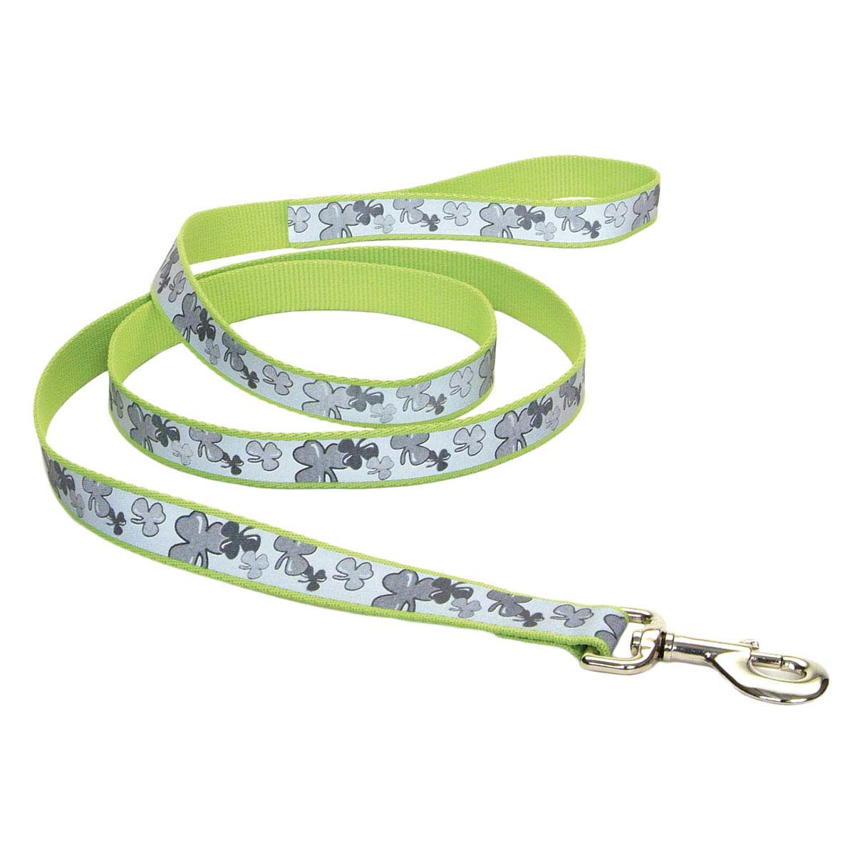 4 feet long - Coastal Lazer Brite Green Reflective Dog Leash - Shamrock Pattern - 1 in wide