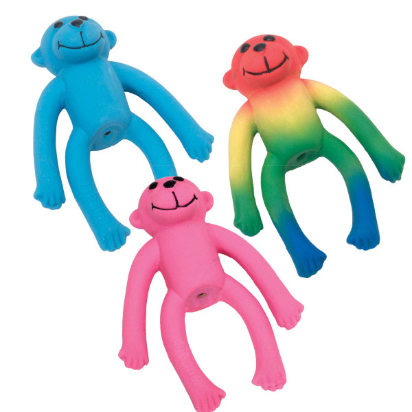 Li'l Pals Latex Squeaker 4 inch Monkey Dog Toy - Three Colors to Choose From
