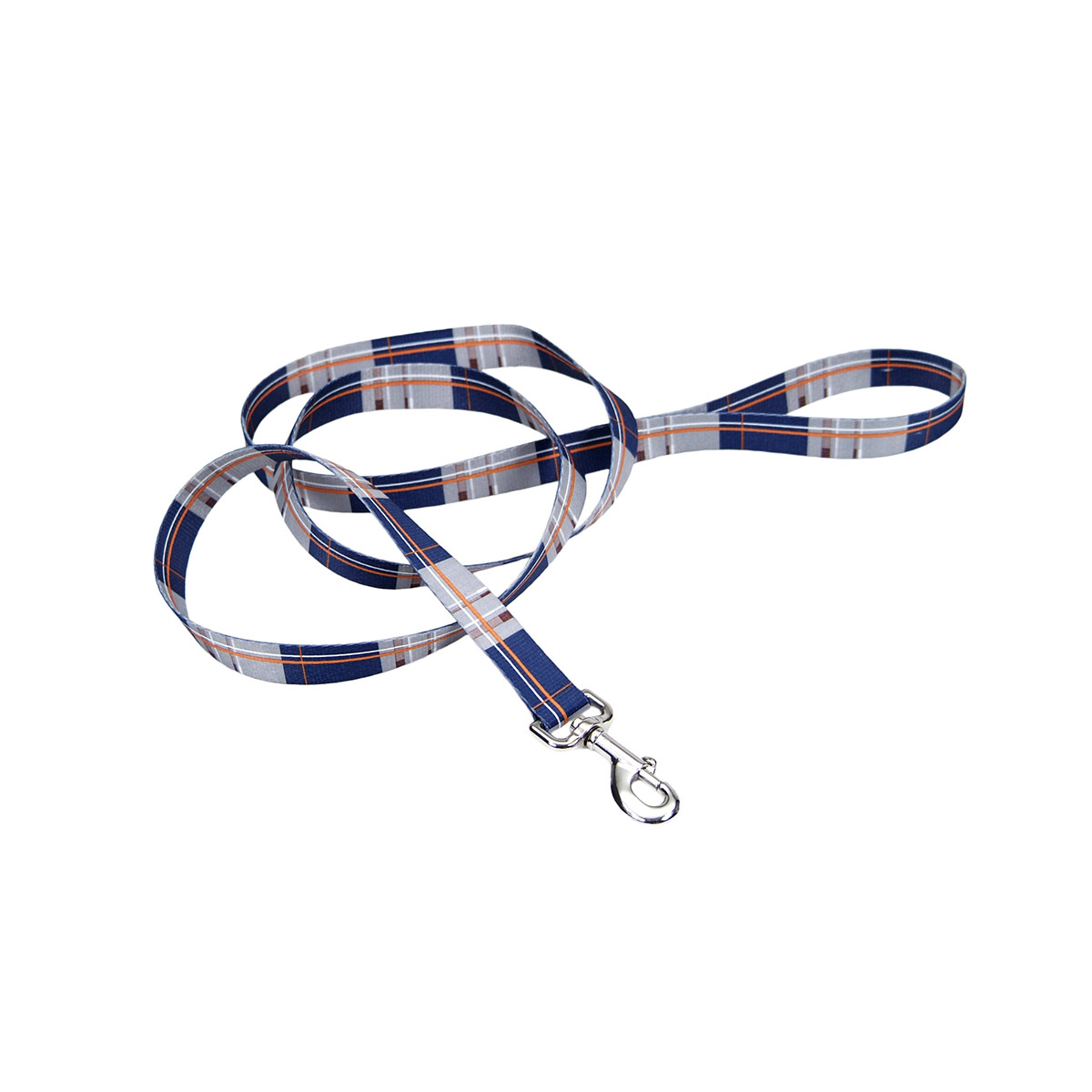 6 foot long by one inch - Coastal Dog Leads - Navy and Orange Plaid