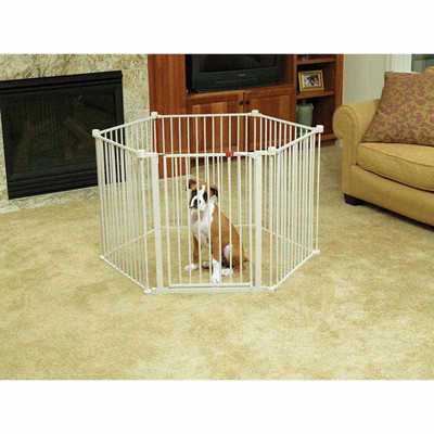 Example of Dog in Carlson Convertible Pet Yard in Circular Shape