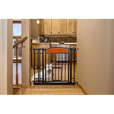 Carlson Design Studio Metal Walk-Thru Gate With Small Pet Door