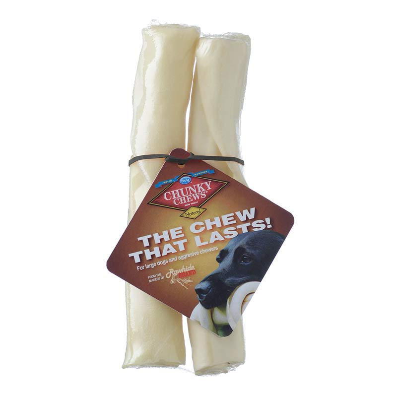 PetAg Chunky Chew 8 inch Rawhide Retriever Roll 2 pack