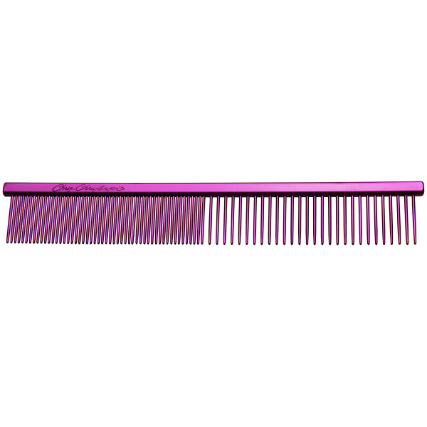 """Pink Chris Christensen 5"""" Fine/Coarse Combs for pet grooming"""