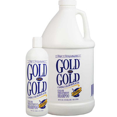 Chris Christensen Gold on Gold Pet Shampoo restores gold tones to the coat