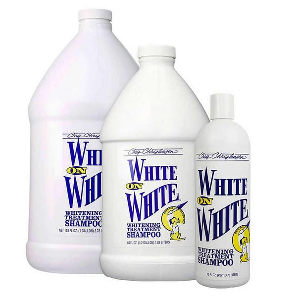 Chris Christensen White on White Pet Shampoo brightens and whitens