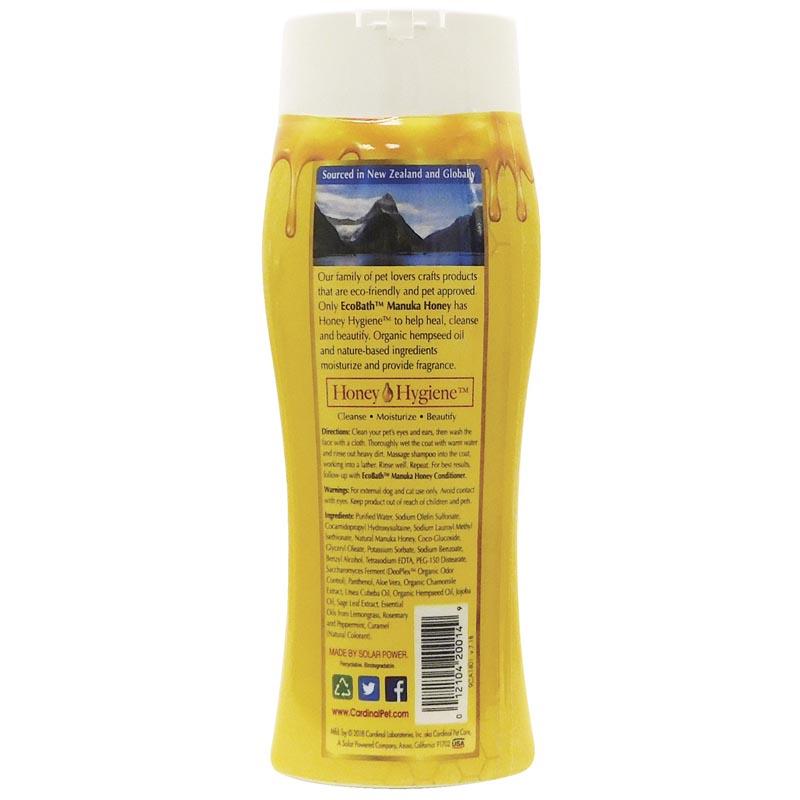 Back of EcoBath Manuka Honey Shampoo 13.5 oz