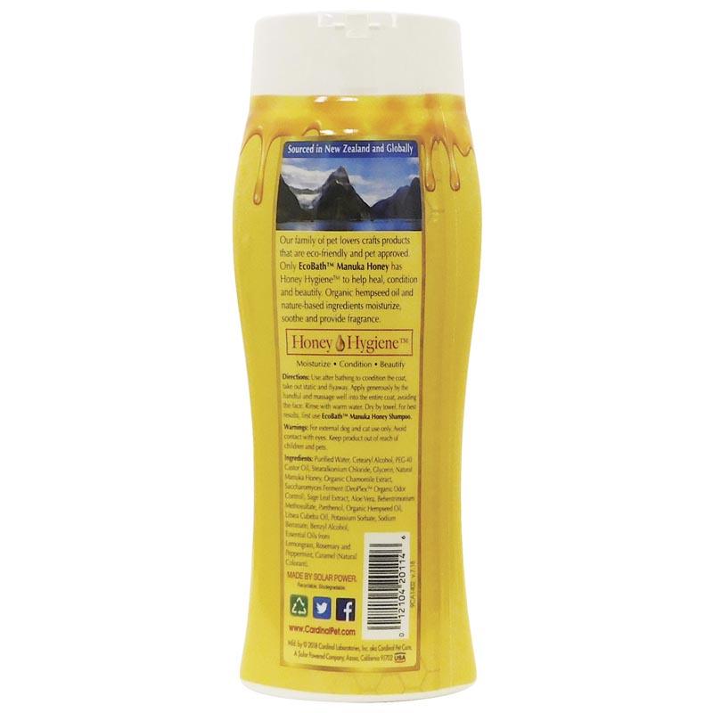 Back of EcoBath Manuka Honey Pet Conditioner Bottle 13.5 oz