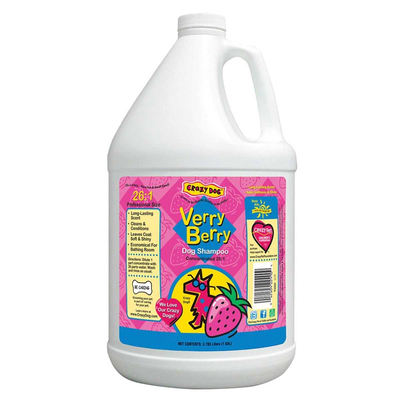 Crazy Dog Verry Berry Shampoo for Dogs Gallon - 26 to 1
