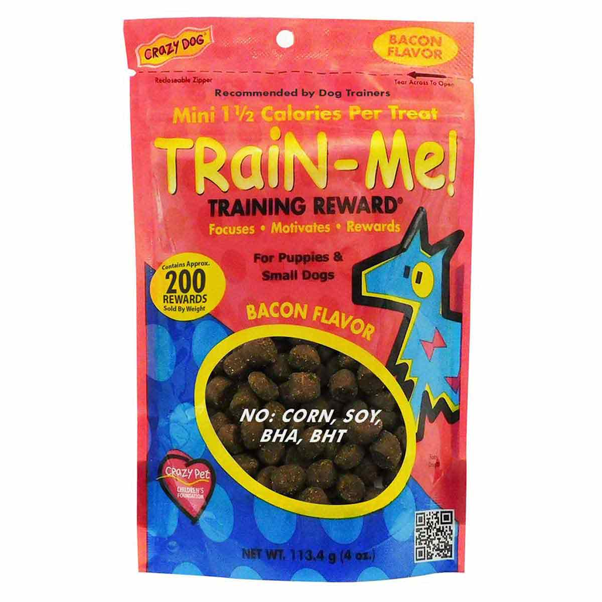 Crazy Dog Train-Me! Bacon Training Treats 4 oz Mini