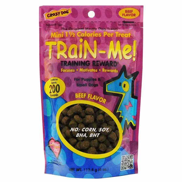 4 oz Mini Crazy Dog Train-Me! Beef Training Treats for Dogs